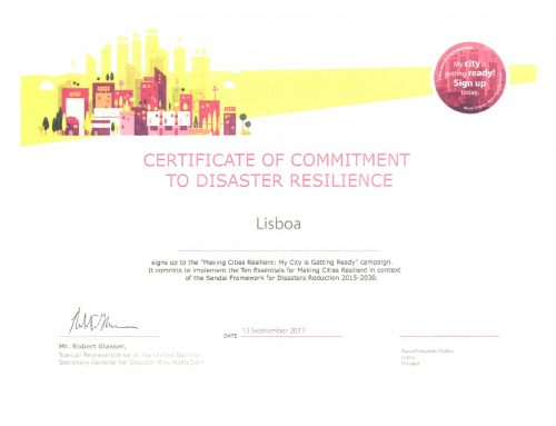"UNISDR campaign ""My city is getting ready!""– Lisbon certificate of commitment"